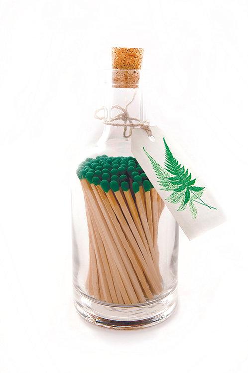 Green Fern Glass Match Bottle