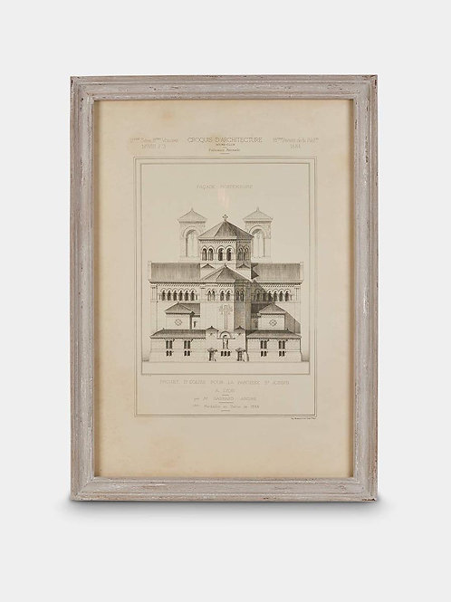 Framed Architectural Print with Aged Ash Frame, Print No II