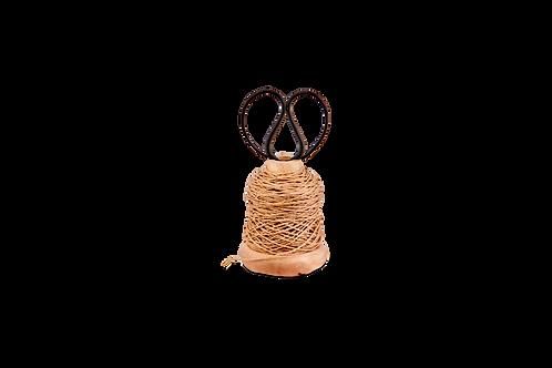 Wooden Bobbin with String & Scissors