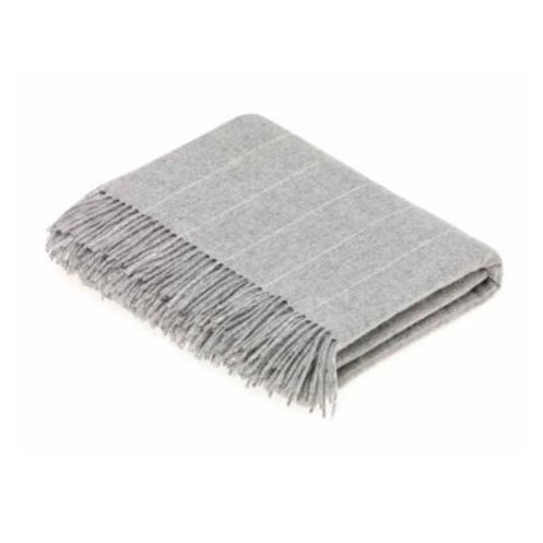 Pure Lambswool Pinstripe Throw, Seal Grey