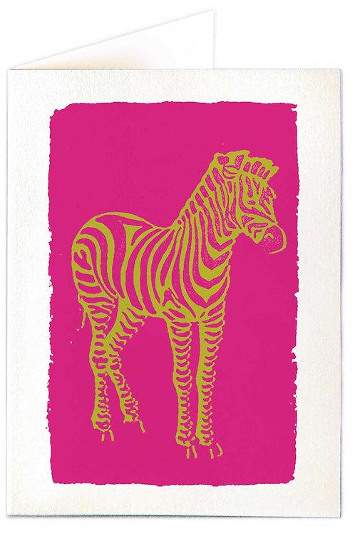 Pack of 5 Notecards - Pink Zebra