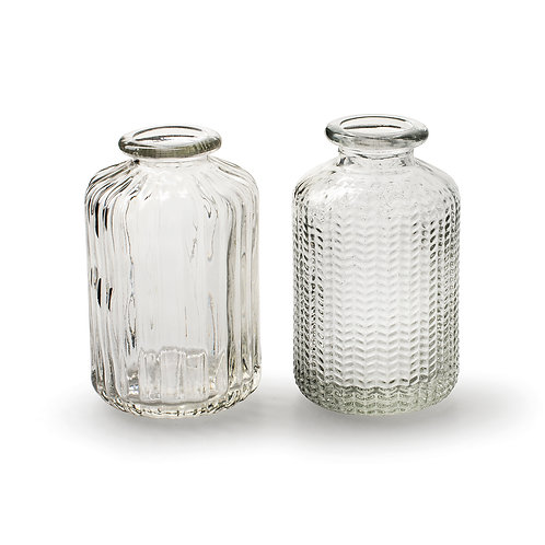 Pair of Small Botanical Vases, Clear, Set of 2 Designs