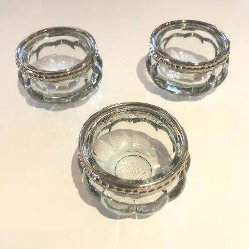 Set of 3 Pumpkin Silver Rim Glass Tea Light Holders