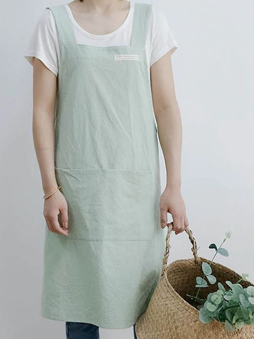 Cross Back Apron with Double Pocket - Two Colours
