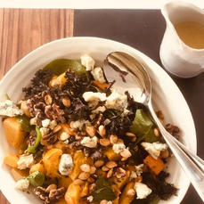 Roasted Squash Salad with Kale, Blue Cheese & Walnuts