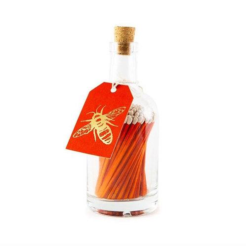 Orange Bee Glass Match Bottle