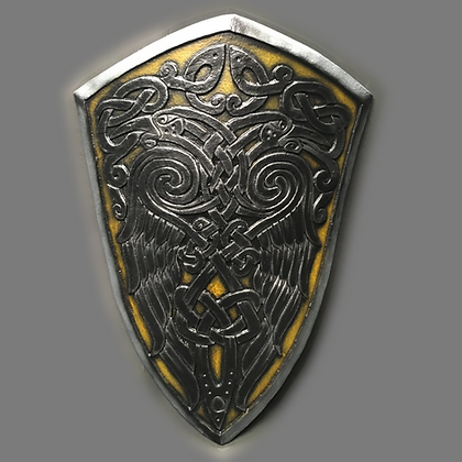 "Knights shield 41"" by 26"""
