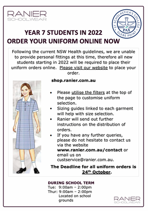 Uniform Orders for 2022