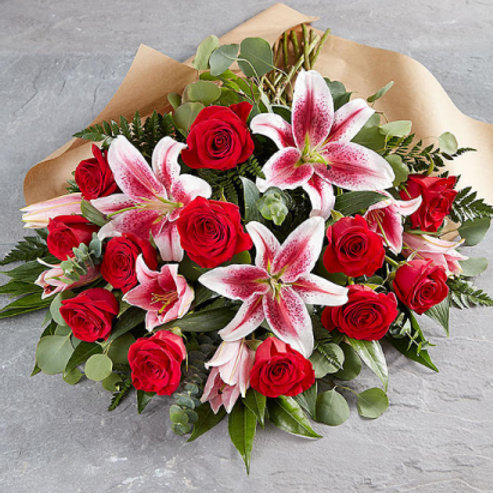 Half Dozen Rose and Lily Wrapped Bouquet