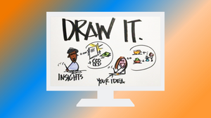 draw it illustration on monitor with colorful backgrond
