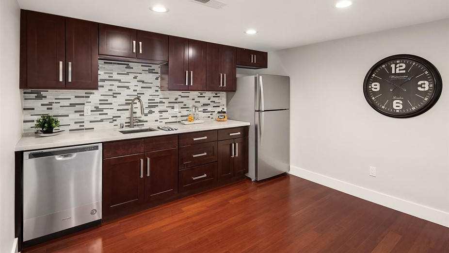 Lower level family room with kitchenette