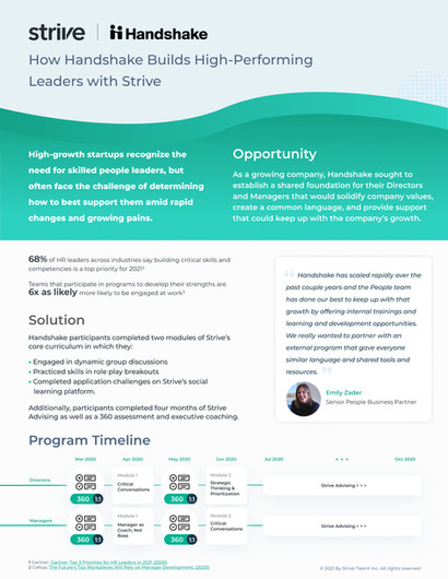 How Handshake Builds High-Performing Leaders with Strive