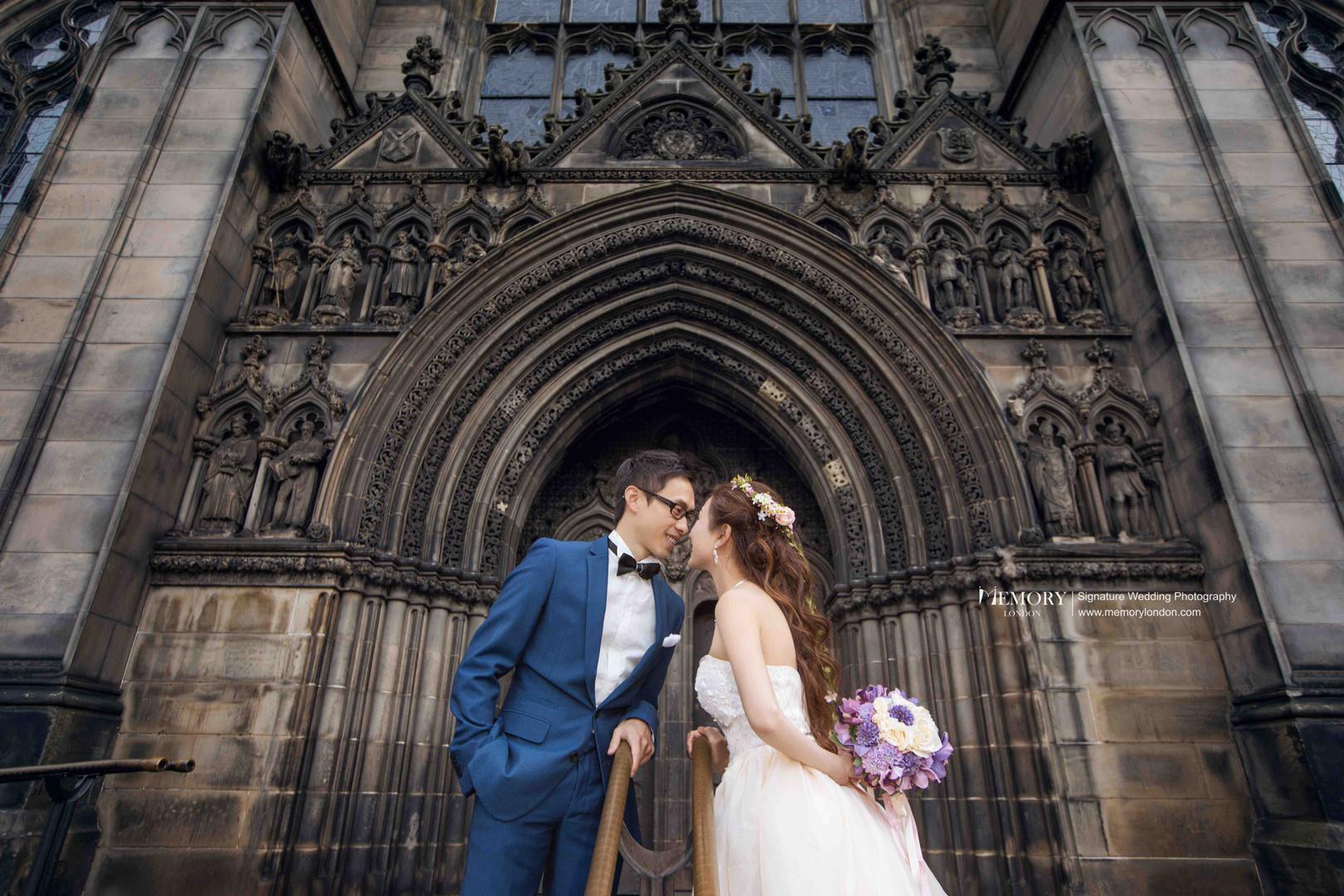 英国爱丁堡教堂婚纱照 苏格兰旅拍
