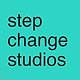 Step Change Studios logo. Turquoise square with black text that reads 'Step Change Studios'.