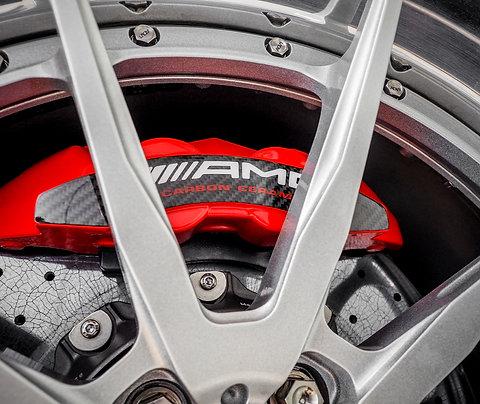 AMG brake caliper carbon fiber plated