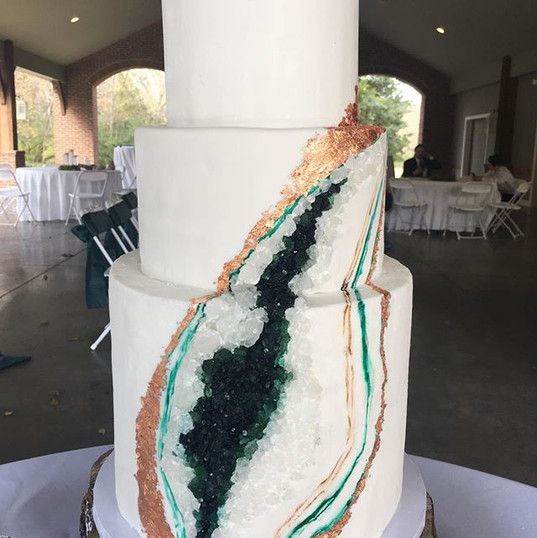 Three tiered chocolate geode cake for Br