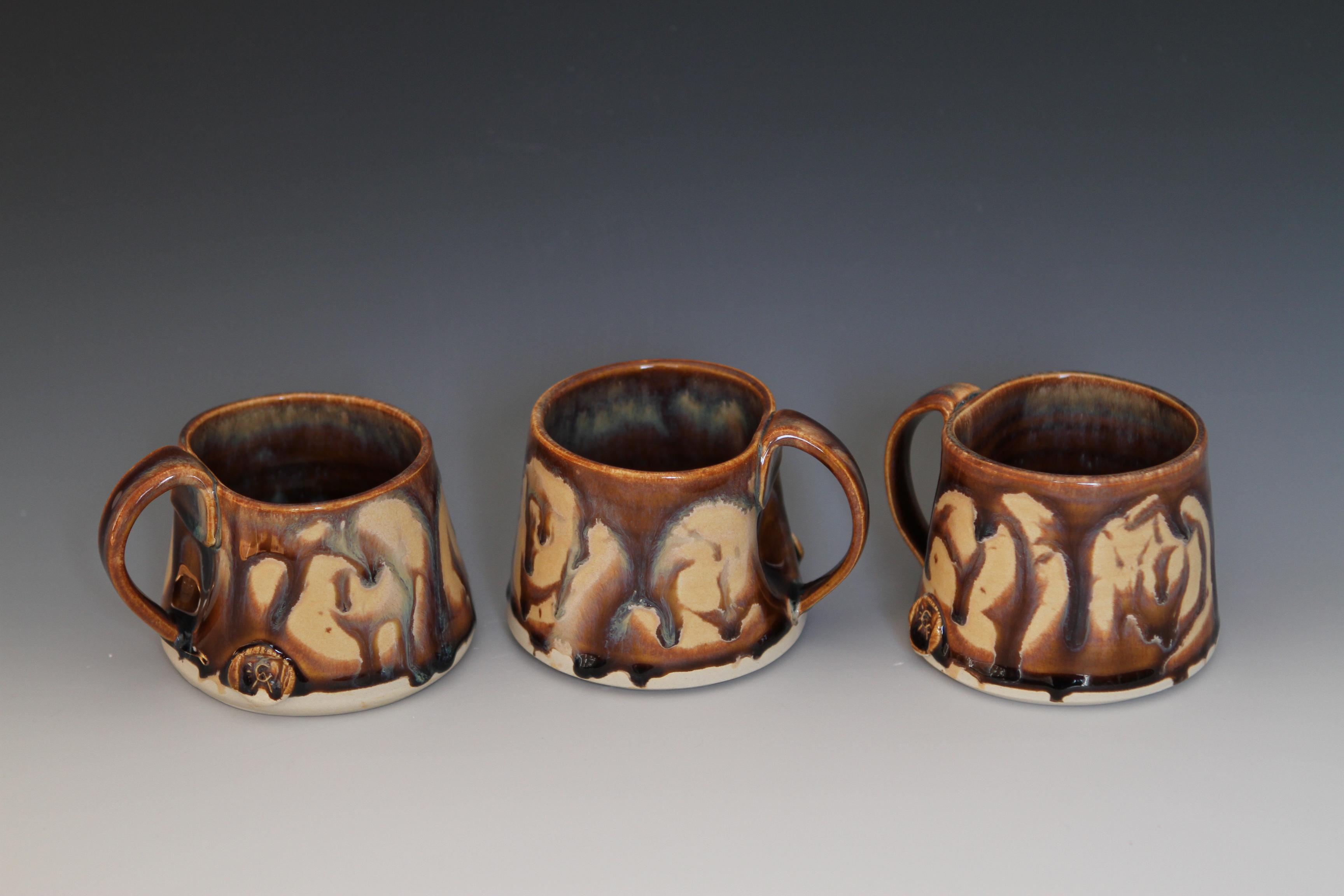 Short Brown Swirl Mugs