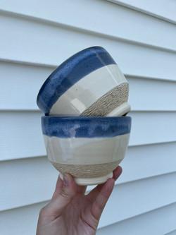 Set of blue rim bowls