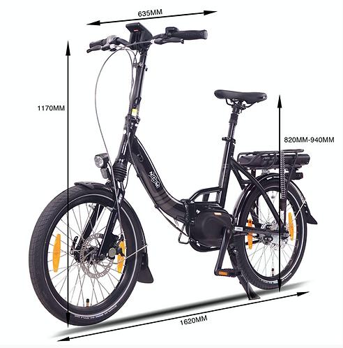 NCM Paris Max N8R Folding E-Bike, 36V 14Ah 540Wh Battery,