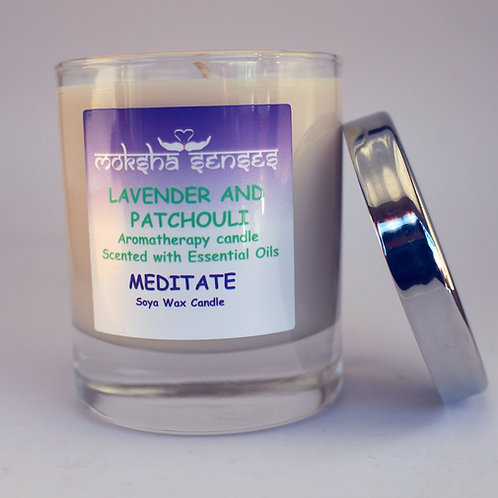 Lavender & Patchouli Cotton Wick Soya Aromatherapy Candle