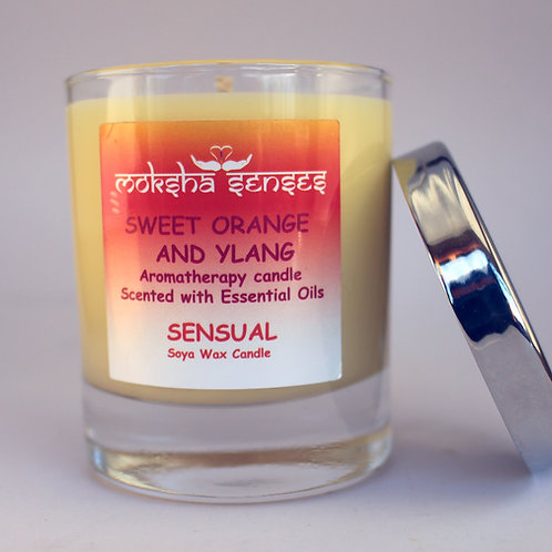 Sweet Orange & Ylang Cotton Wick Soya Aromatherapy Candle (without lid)