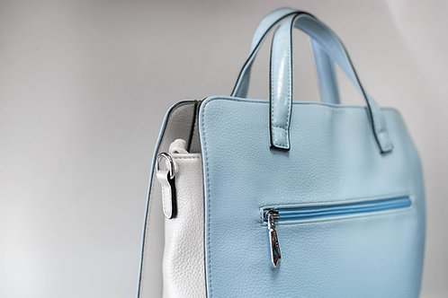 Дамска светло синя чанта от изкуствена еко кожа с 2 къси и 2 дълги дръжки