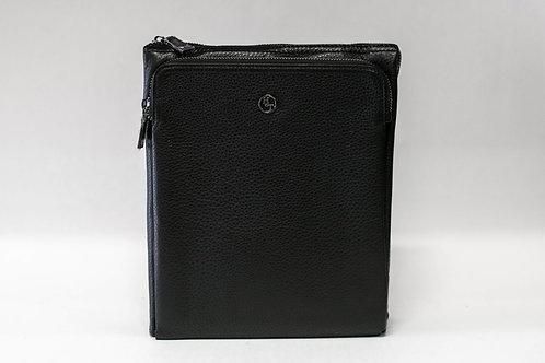 Спортна тънка мъжка чанта от естествена кожа с преден джоб