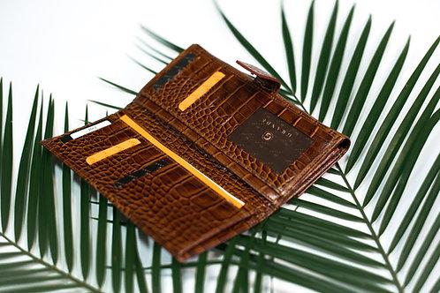 Правоъгълно дамско портмоне с външно закопчаване GRANDE от естествена кожа