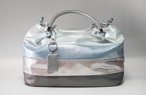 Дамска чанта от изкуствена кожа в седефени цветове с 1 дълга и 2 къси дръжки