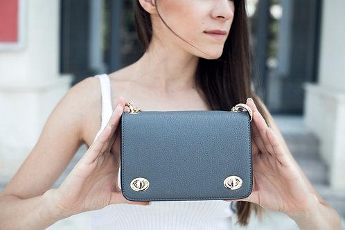 Малка сива дамска чанта с дълга и къса дръжка синджир