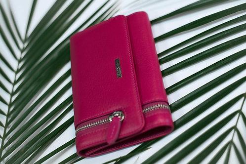 Дамско портмоне с външен цип GRANDE от естествена кожа