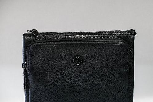 Спортна тънка мъжка чанта от естествена кожа с 3 отделни прегради