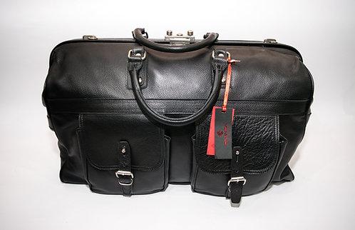 Пътна чанта от естествена кожа с механизъм за заключване
