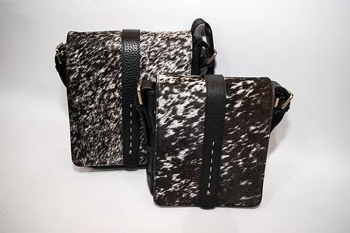 Мъжка чанта през рамо от естествена кожа и естествен косъм