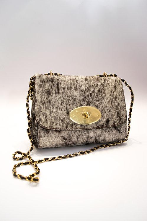 Дамска чанта от естествена кожа/естетсвен косъм/