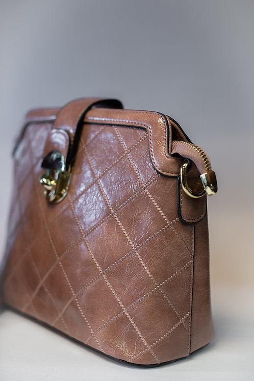 Дамска чанта от изкуствена еко кожа в 4 цвята с две дълги дръжки