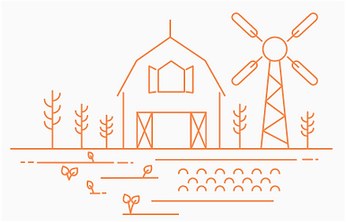 Copeland Kansas Farmhouse and Windmill Illustration