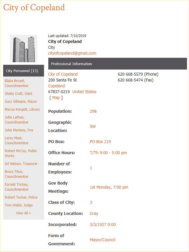 Kansas - City of Copeland Kansas 67837 Directory