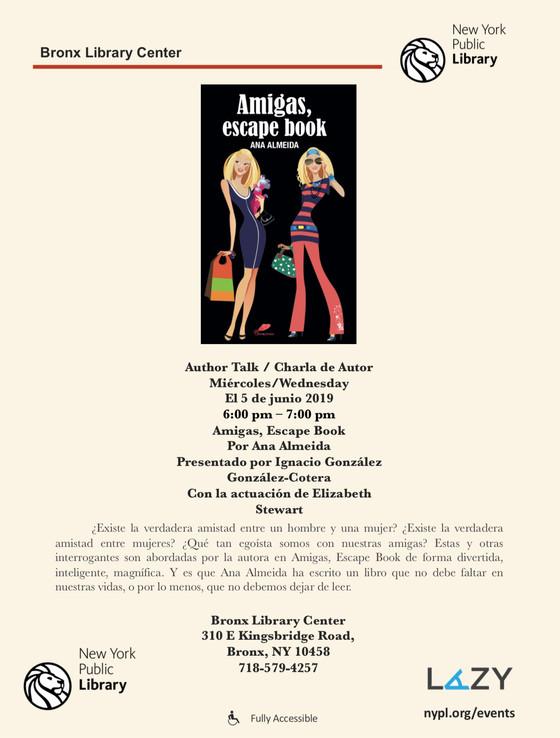 """Lanzamiento oficial de """"Amigas, escape book"""", en Nueva York. Entrada sin costo."""