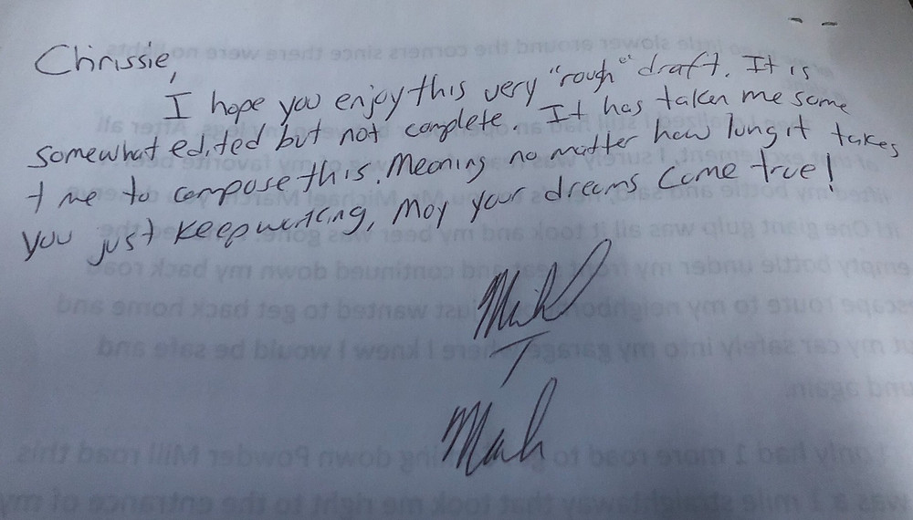 a personal note he wrote on the back of the manuscript that became very relevant and special to me
