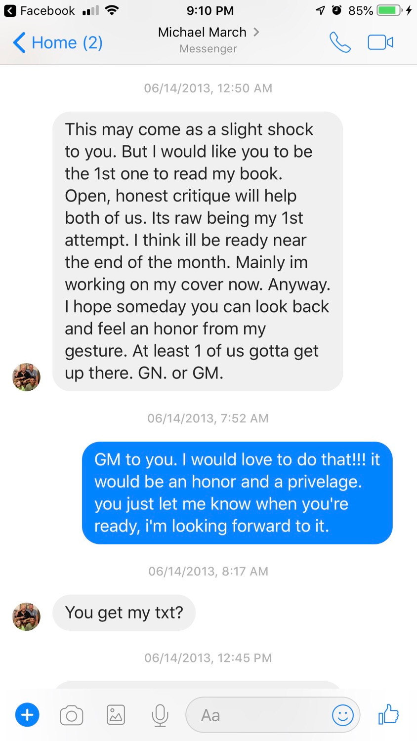 The day he entrusted his book to me