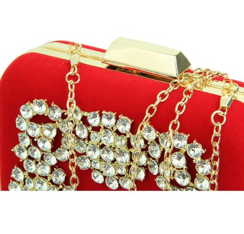 cb7339b94f CARTER red square velvet crystal embellished box clutch evening bag
