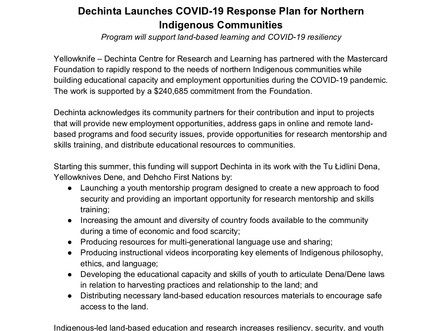 Dechinta Launches COVID-19 Response Plan for Northern Indigenous Communities