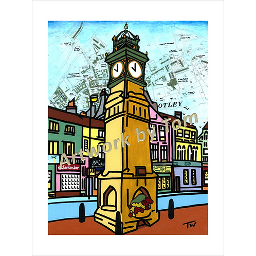 "Otley Clock in Colour (16""x12"")"