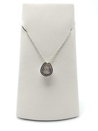 14KW Shimmering Diamond Horseshoe Pendant