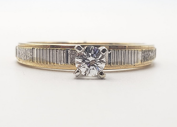 14K Two Tone Diamond Solitaire Engagement Ring