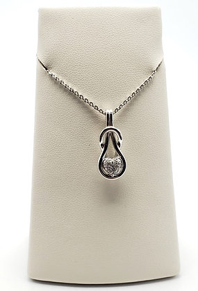 14K White GoldHeart Pendant with Diamonds