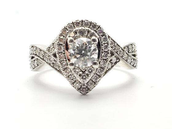 14kw 1.00cttw Diamond Cluster Halo ring
