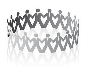 Image of - Papercutting figures linking hands in a circle