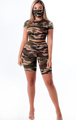 Army Girl Short Set